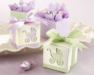 """""""BABY'S DAY OUT"""" LASER-CUT CARRIAGE FAVOR BOXES -LAVENDER OR SAGE"""