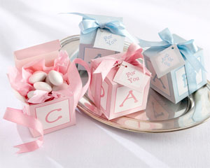 CLASSIC BABY BLOCKS FAVOR BOXES WITH IMPRINTED RIBBON