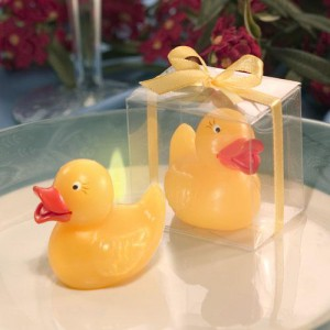 YELLOW DUCK CANDLE IN CLEAR BOX