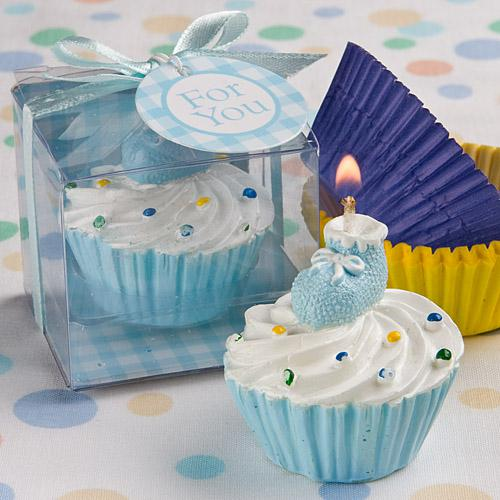 BLUE CUPCAKE DESIGN CANDLE FAVORS