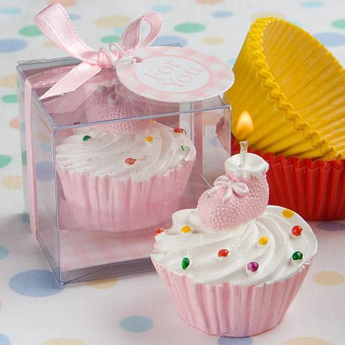 PINK CUPCAKE DESIGN CANDLE FAVORS