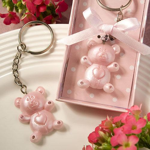 PINK TEDDY BEAR DESIGN FAVOR SAVER KEY CHAINS