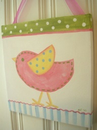 Hand Painted Canvas with Bird