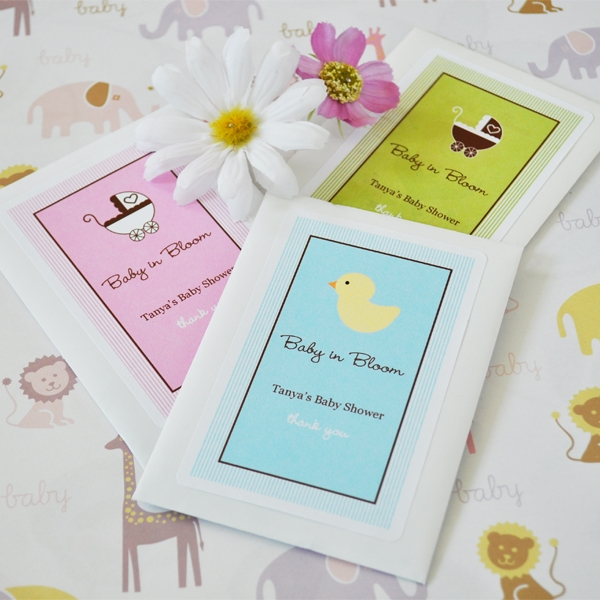 """Baby in Bloom"" Personalized Shower Seed Packets"