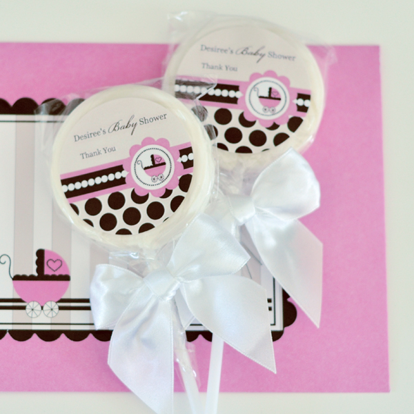 Personalized Lollipop Favors - Pink Baby