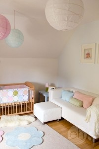 White and Pastel Blue, Green and Pink Nursery