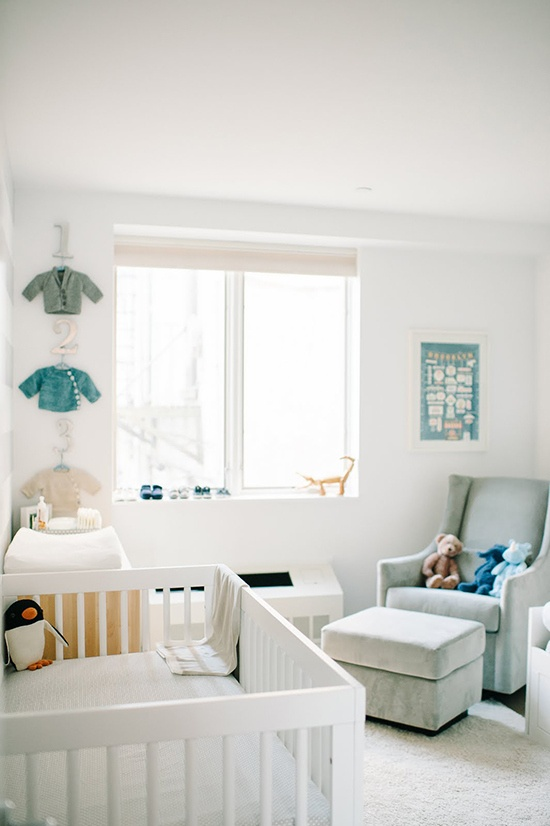 Muted Blues and Greens in White Nursery