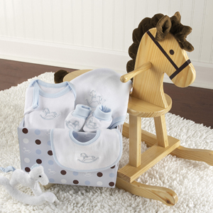 """Rockabye Baby"" Personalized Rocking Horse with Plush Toy and Layette Gift Set (Blue) wedding favors"