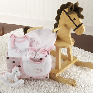 """Rockabye Baby"" Personalized Rocking Horse with Plush Toy and Layette Gift Set (Pink) wedding favors"