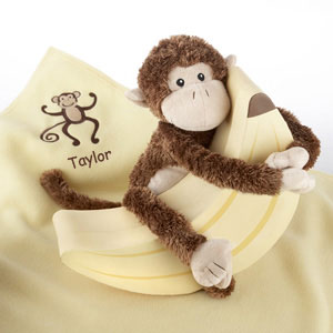 "Plush ""Monkey Magoo and Blankie Too!"" in Keepsake Banana Gift Box (Personalization Available) wedding favors"
