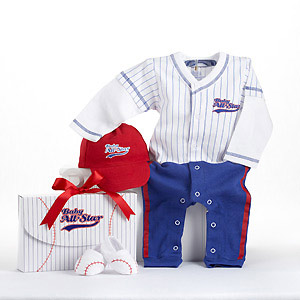 """Big Dreamzzz"" Baby Baseball Three-Piece Layette Set in All-Star Gift Box wedding favors"