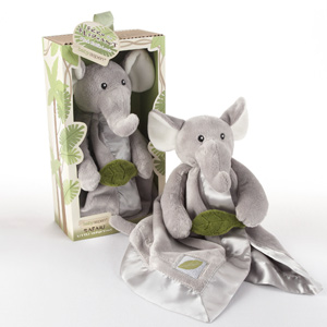 """Ekko the Elephant"" Little Expeditions Plush Rattle Lovie with Crinkle Leaf wedding favors"