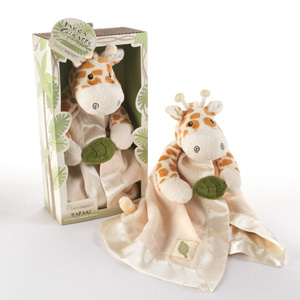 """Jakka the Giraffe"" Little Expeditions Plush Rattle Lovie with Crinkle Leaf wedding favors"