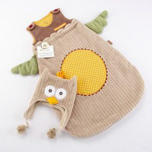 """My Little Night Owl"" Snuggle Sack and Cap wedding favors"