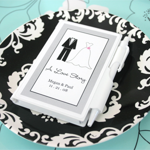 """A Love Story"" Personalized Theme Notebook Favors wedding favors"
