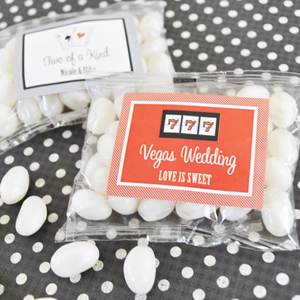"""A Lucky Pair"" Vegas Themed Personalized Jelly Bean Packs  wedding favors"