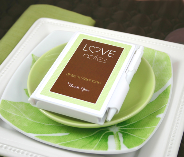 "Personalized ""Love Notes"" White Notebook Favors wedding favors"