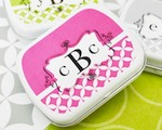 Mod Monogram Mint Tins  baby favors