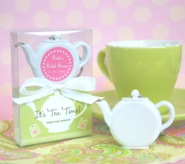 """It's Tea Time!"" Teapot Tape Measure wedding favors"
