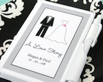 """A Love Story"" Personalized Theme Notebook Favors baby favors"