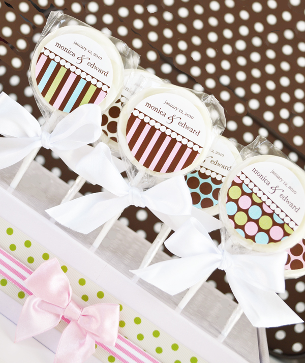 """Something Sweet"" Dots and Stripes Personalized Lollipop Favors wedding favors"
