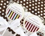 """Something Sweet"" Dots and Stripes Personalized Lollipop Favors baby favors"