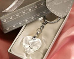Chrome Key Chain With Crystal Heart baby favors