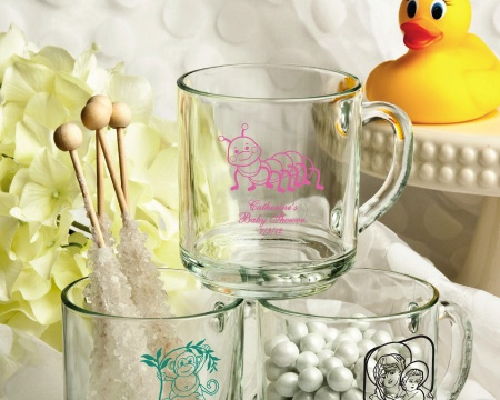Personalized 10 Oz. Glass Handy Mug Favors baby favors