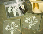 Calla Lily Bouquet Design Glass Coaster Sets (Set Of 2) baby favors