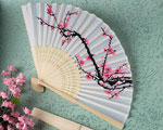Delicate Cherry Blossom Design Silk Folding Fan Favors baby favors
