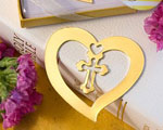 Book Lovers Collection Heart And Cross Design Bookmark Favors baby favors