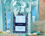 "Blue ""Delivered With Love"" Boxes From The Personalized Expressions Collection baby favors"