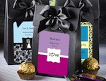 "Black ""Delivered With Love"" Boxes From The Personalized Expressions Collection baby favors"