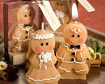 Adorable Gingerbread Bride & Groom Candle Favors baby favors