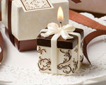 Ivory And Brown Gift Box Collection Candle Favor baby favors