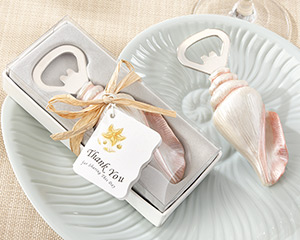 """Shore Memories"" Sea Shell Bottle Opener with Thank you Tag wedding favors"
