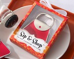 """Sip & Shop"" Purse Bottle Opener baby favors"