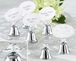 """Lovebirds"" Silver-Finish Kissing Bell Place Card Holder (Set of 24) baby favors"