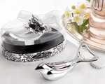 "The ""Love Dove"" Chrome Bottle Opener in Elegant, Oval Showcase Giftbox baby favors"