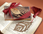 """Turning Leaves"" Bookmark with Burgundy Silk Tassel baby favors"