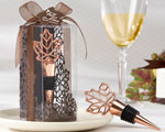 """Lustrous Leaf"" Copper-Finish Bottle Stopper in Laser-Cut Leaf Gift Box baby favors"