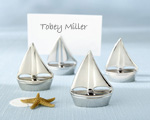 """Shining Sails"" Silver Place Card Holders baby favors"