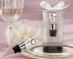 """LOVE"" Chrome Bottle Stopper baby favors"