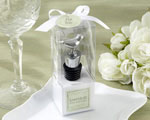 """Lovebirds"" Chrome Bottle Stopper baby favors"