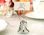 Charming Chrome Bell Place Card/Photo Holder with Dangling Heart Charm baby favors