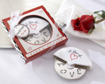 """A Slice of Love"" Stainless-Steel Pizza Cutter in Miniature Pizza Box baby favors"