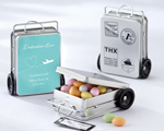 """Miles of Memories"" Suitcase Favor Tins with Optional Personalized Labels baby favors"