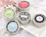"""Simply Sweet"" Round, Personalized Candy Tin - Wedding baby favors"
