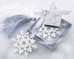 """Snowflake"" Bookmark with Silver Finish and Elegant Ice-Blue Tassel baby favors"
