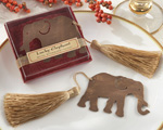 """Lucky Elephant"" Metal Bookmark with Elegant Gold Silk Tassel baby favors"
